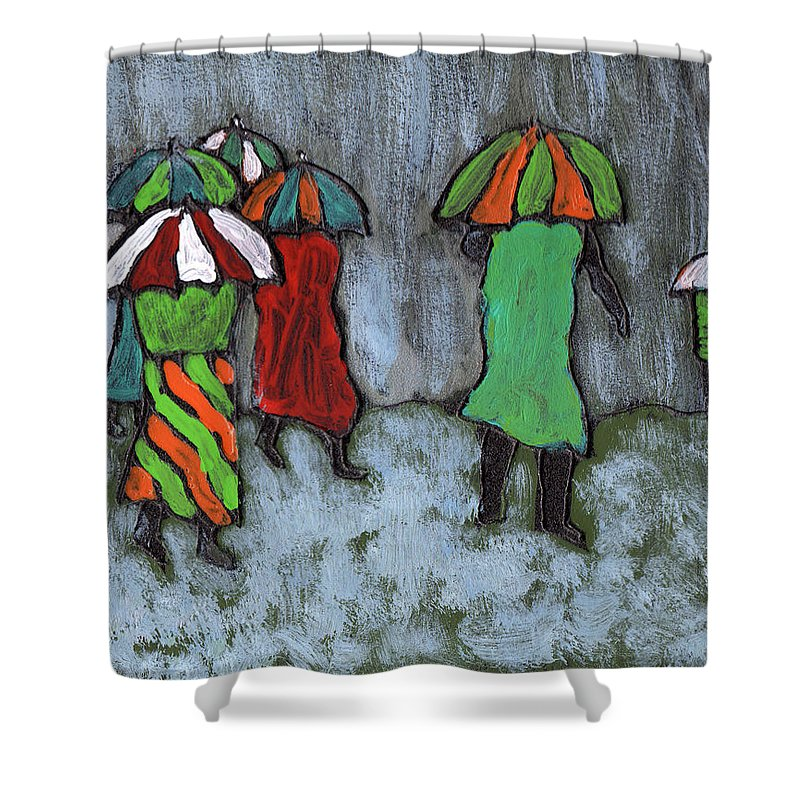 Etnic Shower Curtain featuring the painting It's Raining It's Pouring by Wayne Potrafka