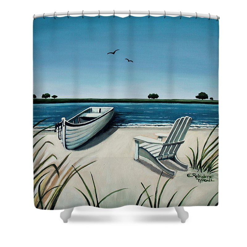 Beach Shower Curtain featuring the painting Its Summertime by Elizabeth Robinette Tyndall