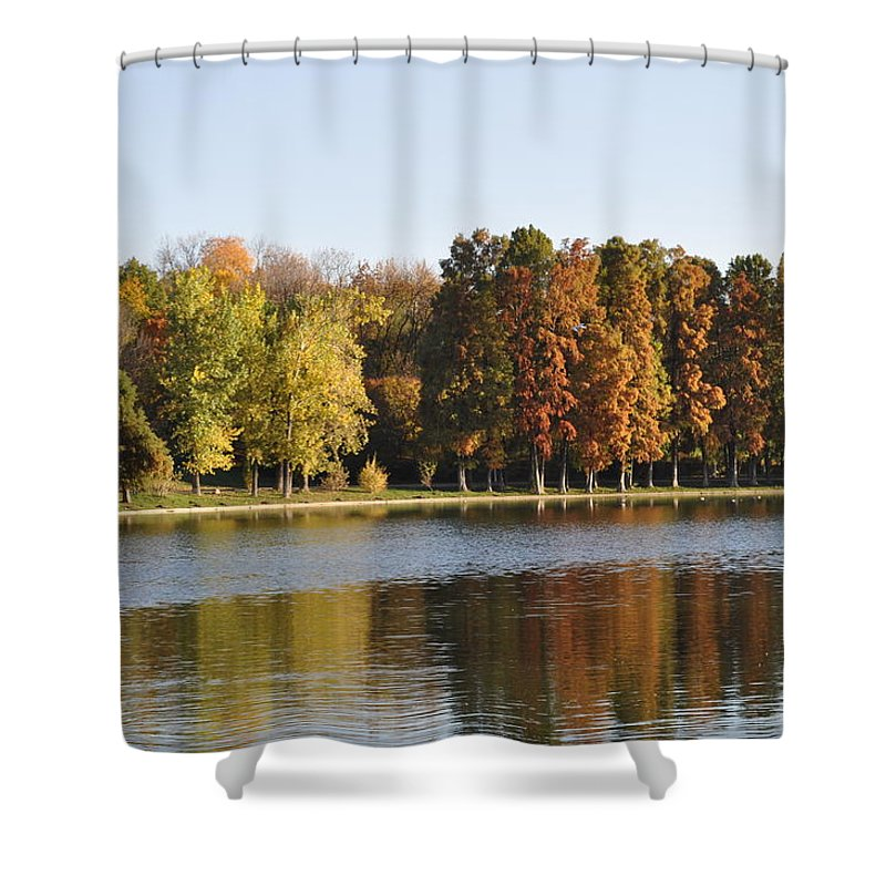 Park Autumn Shower Curtain featuring the photograph It's Up To You To Express by Georgeta Blanaru