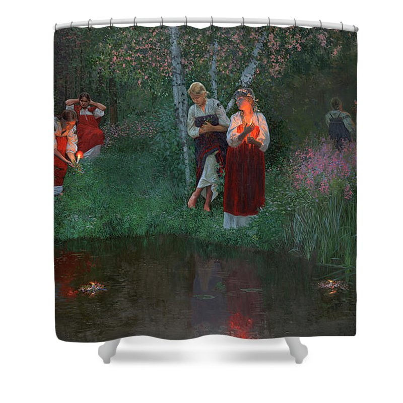 Girs Shower Curtain featuring the painting Ivan Kupala. Fortunetelling For Wreaths. by Simon Kozhin