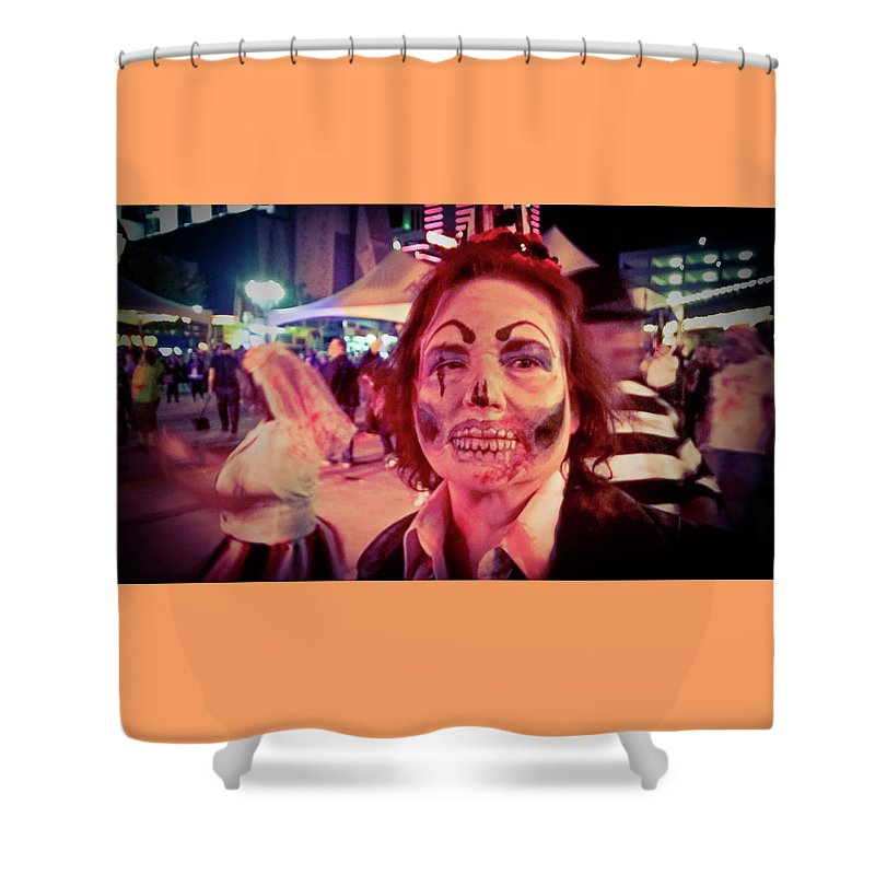 Zombie On Patrol Shower Curtain featuring the photograph Zombie On Patrol by Shirley Anderson