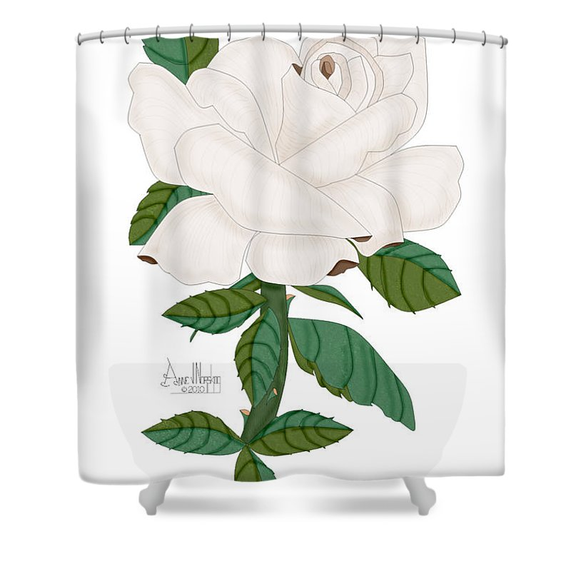 Ivory Rose Shower Curtain featuring the painting Ivory Rose by Anne Norskog