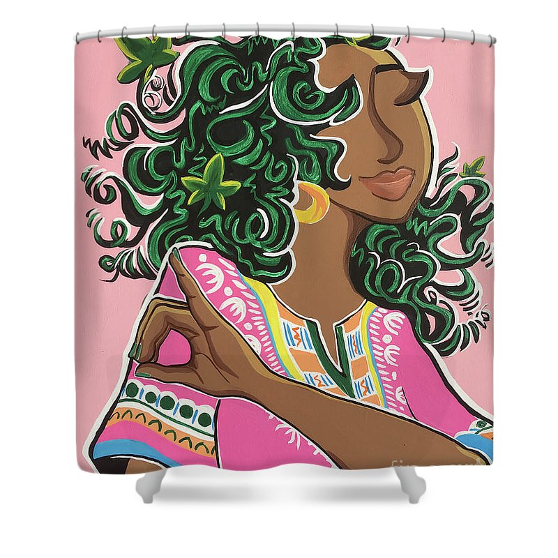 Ivy Shower Curtain Featuring The Painting And Dashiki By Alisha Lewis