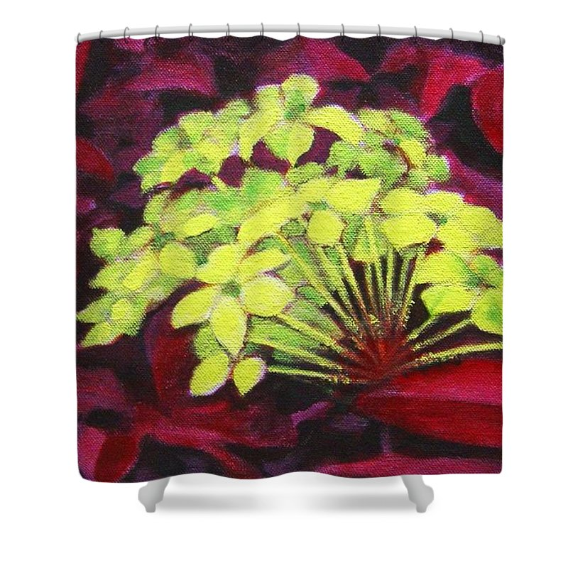 Foliage Shower Curtain featuring the painting Ixora - Jungle Flame by Usha Shantharam