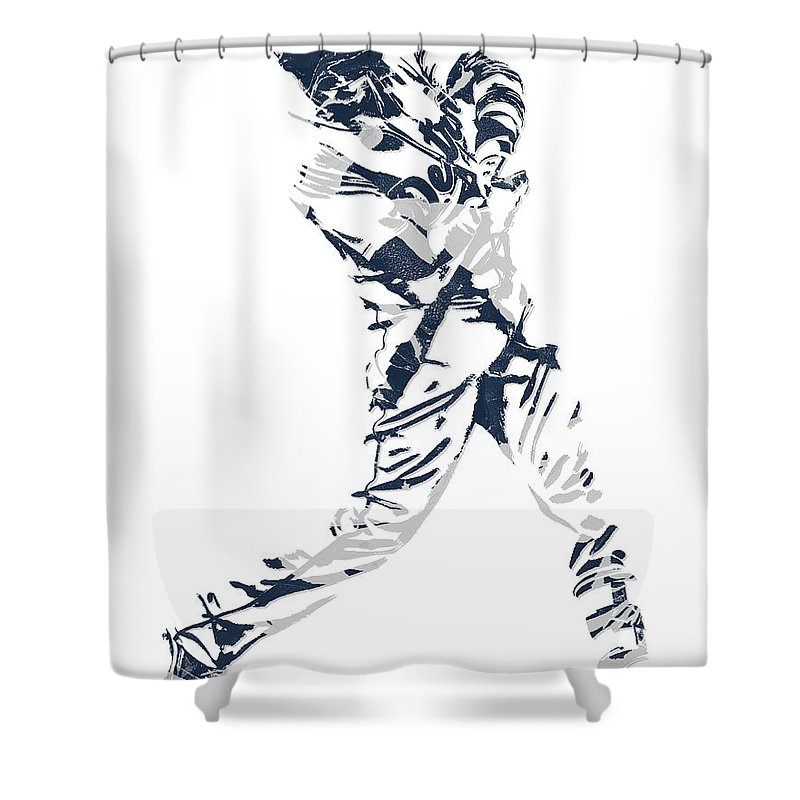 J D Martinez Shower Curtain featuring the mixed media J D Martinez Detroit Tigers Pixel Art 3 by Joe Hamilton