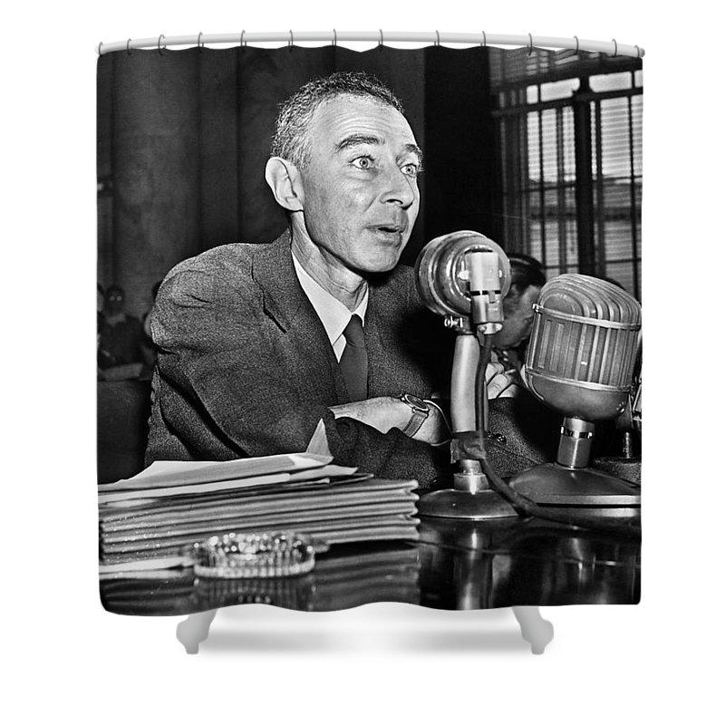 1949 Shower Curtain featuring the photograph J. Robert Oppenheimer by Granger
