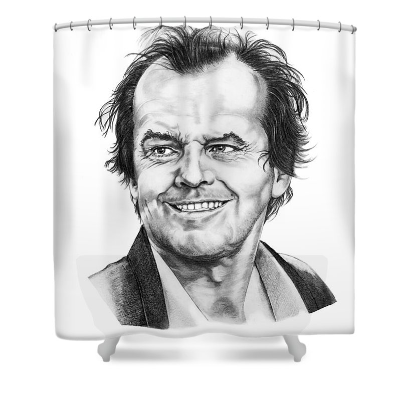 Portrait Shower Curtain featuring the drawing Jack Nickolson by Murphy Elliott