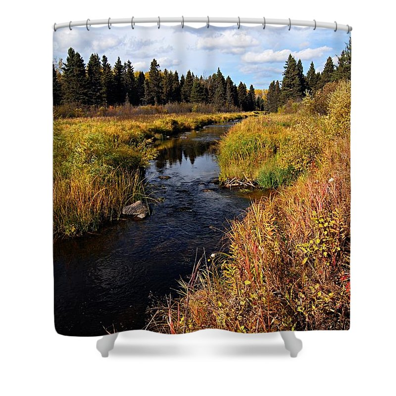 Riding Mountain National Park Shower Curtain featuring the photograph Jackfish Creek In Autumn by Larry Ricker