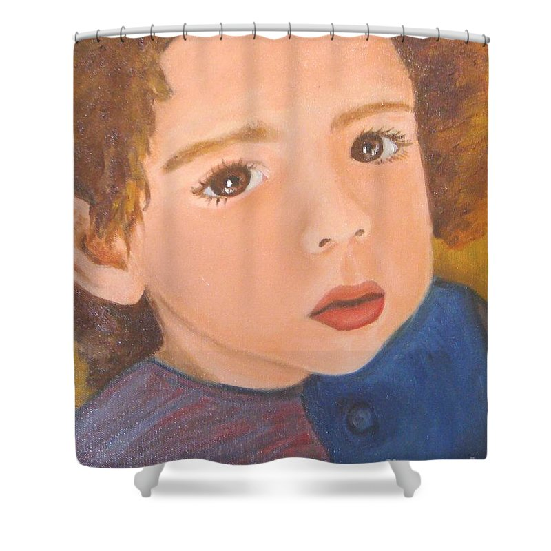 Portrait Shower Curtain featuring the painting Jackson by Laurie Morgan