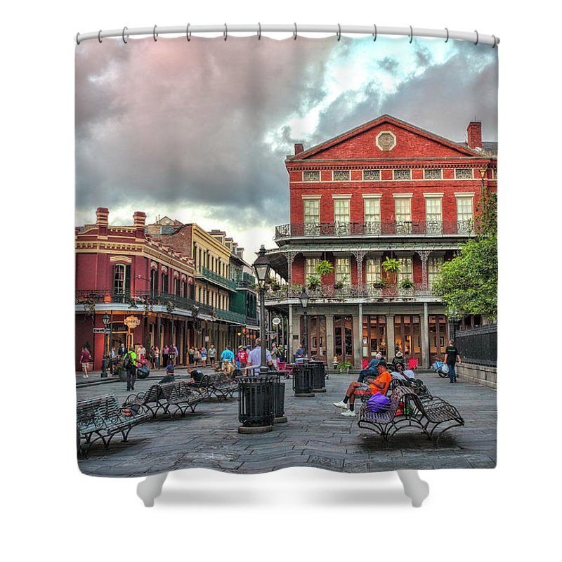 Jackson Square Shower Curtain featuring the photograph Jackson Square Evening by Diana Powell