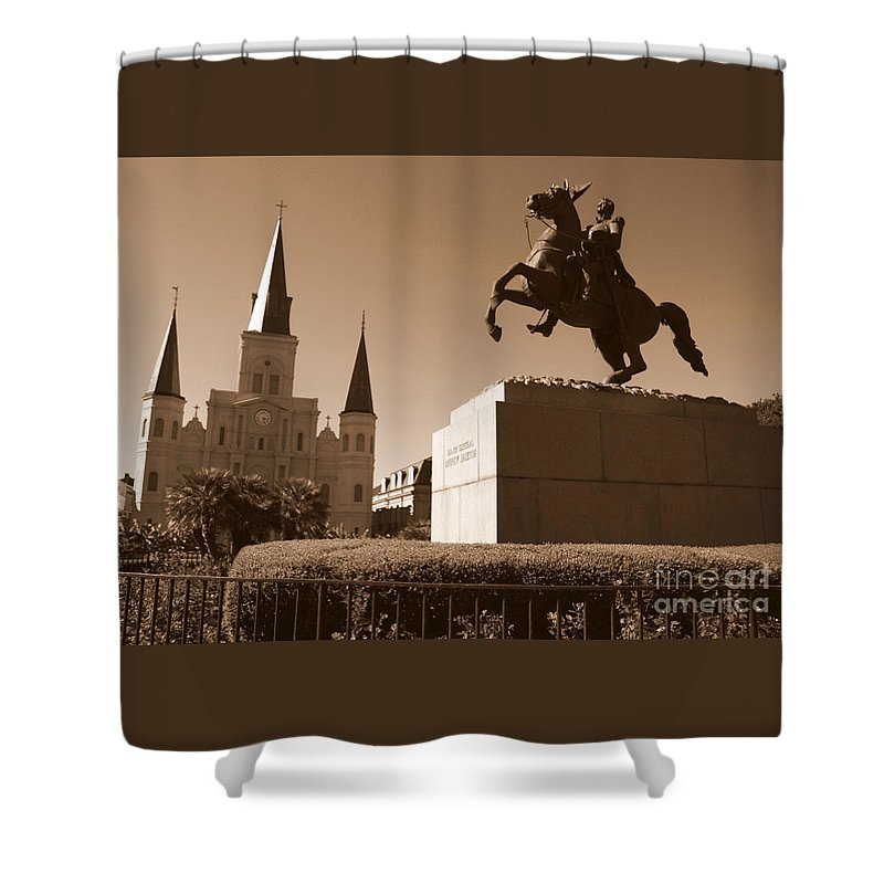 New Orleans Shower Curtain featuring the photograph Jackson Square In New Orleans - Sepia by Carol Groenen