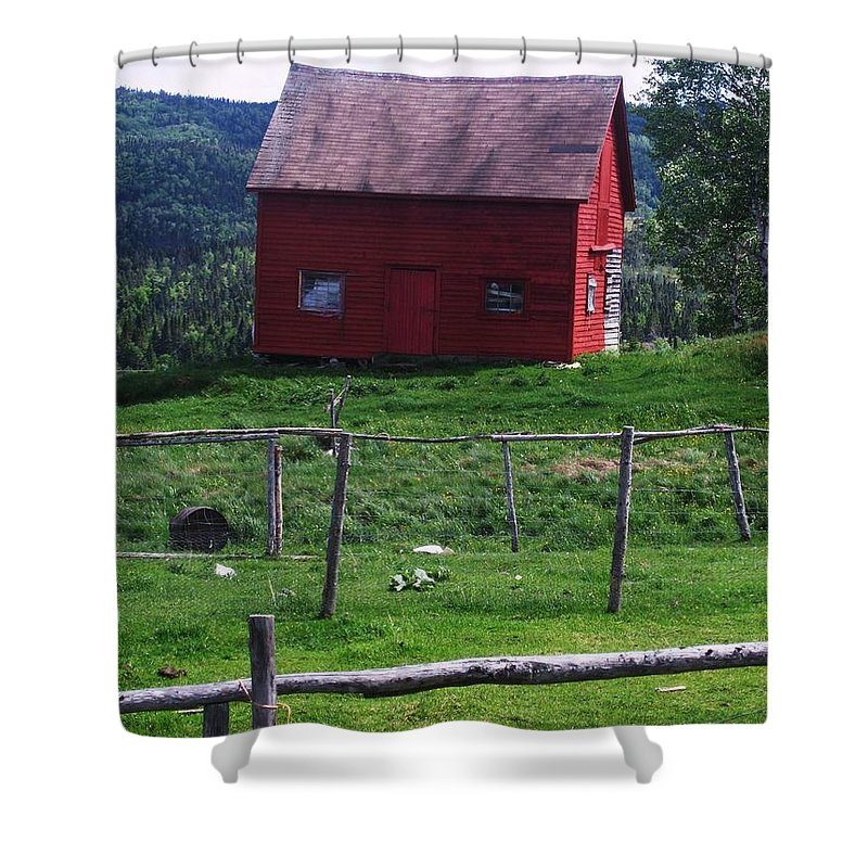 Photograph Newfoundland Jackson Cove Boat Grass Shower Curtain featuring the photograph Jackson's Cove by Seon-Jeong Kim