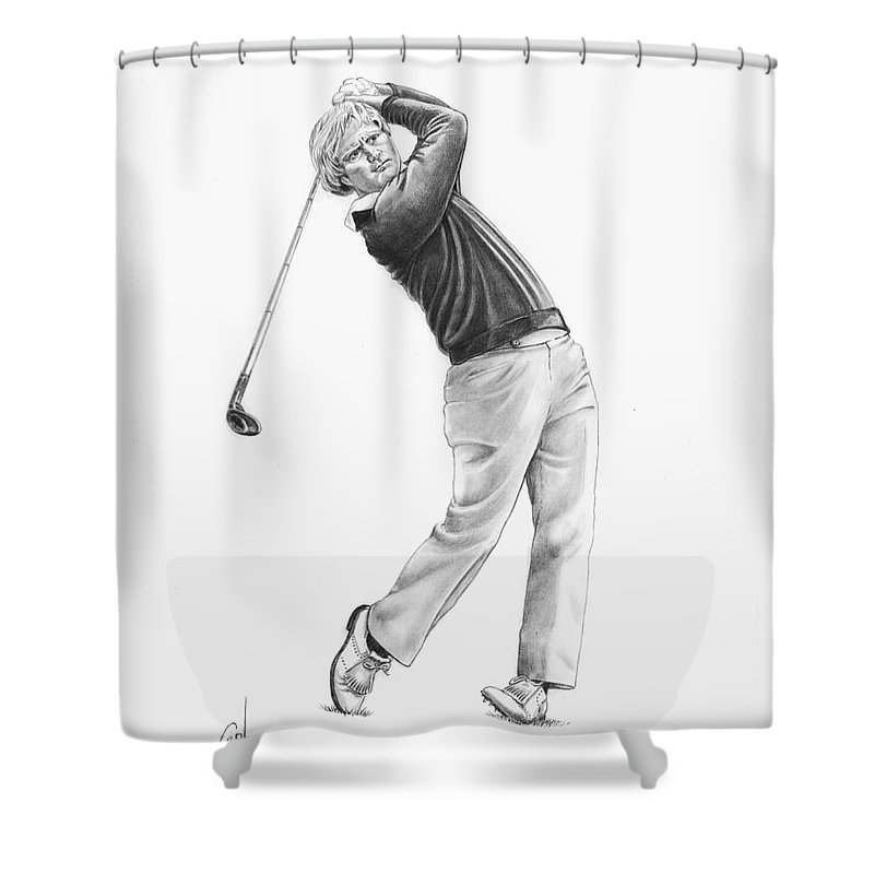 Jack Nickolas Shower Curtain featuring the drawing Jacl Nicklaus by Murphy Elliott