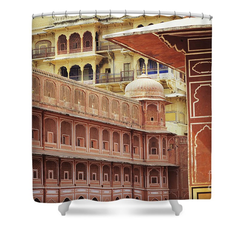 Architecture Shower Curtain featuring the photograph Jaipur City Palace by Kyle Rothenborg - Printscapes