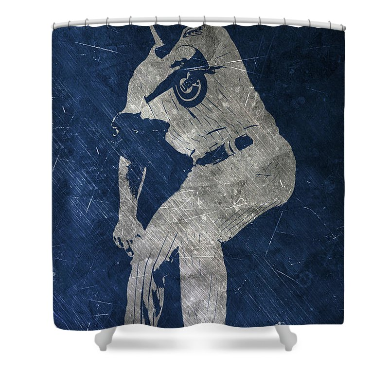 Jake Arrieta Shower Curtain Featuring The Painting Chicago Cubs Art By Joe Hamilton