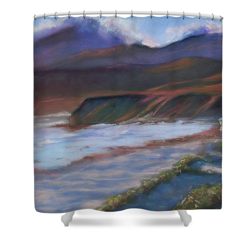 Jalama Beach. Shower Curtain featuring the pastel Jalama Beach At Sunset by Laurie Paci