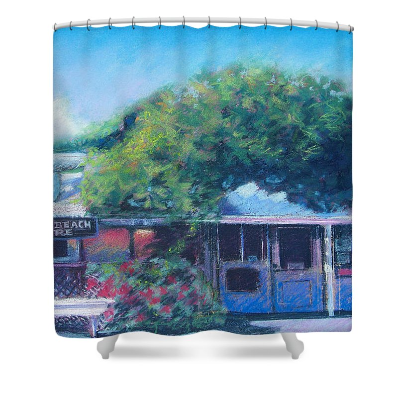Jalama Beach Store Shower Curtain featuring the pastel Jalama Beach Store by Laurie Paci