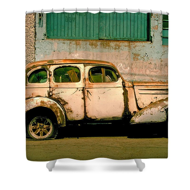 Skip Shower Curtain featuring the photograph Jalopy by Skip Hunt