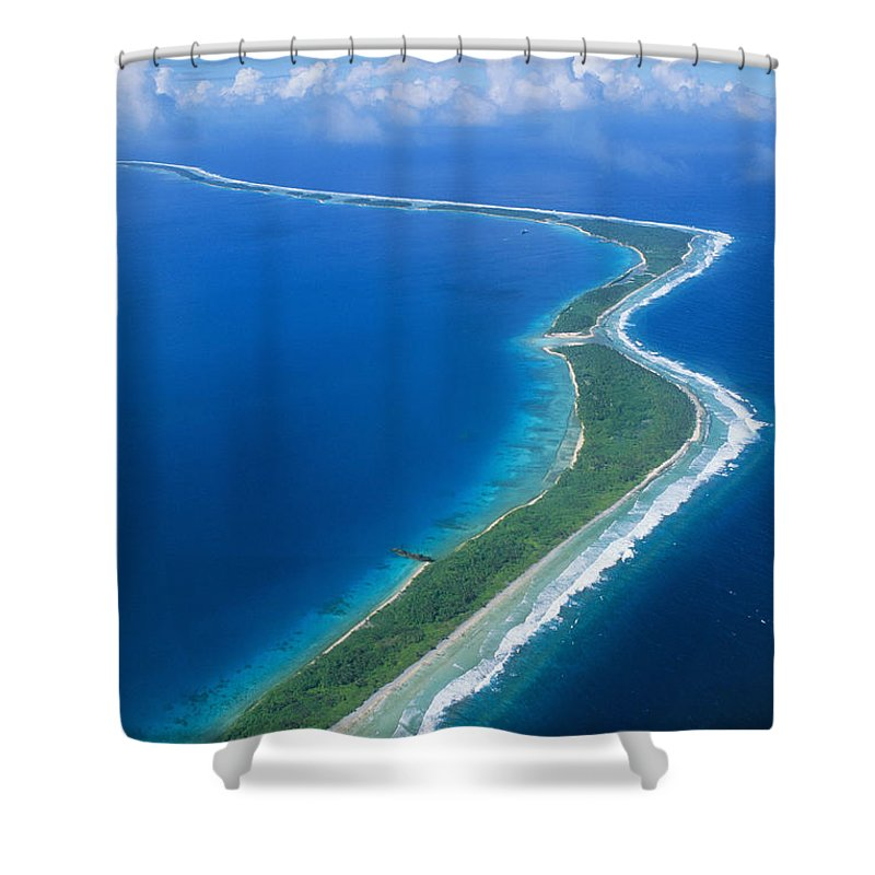 Aerial Shower Curtain featuring the photograph Jaluit Atoll And Lagoon by Greg Vaughn - Printscapes