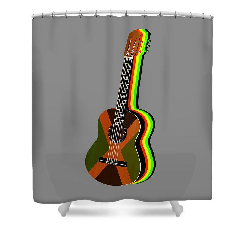 Rasta Shower Curtain Featuring The Digital Art Jamaican Rastafarian Flag Guitar By Early Kirky