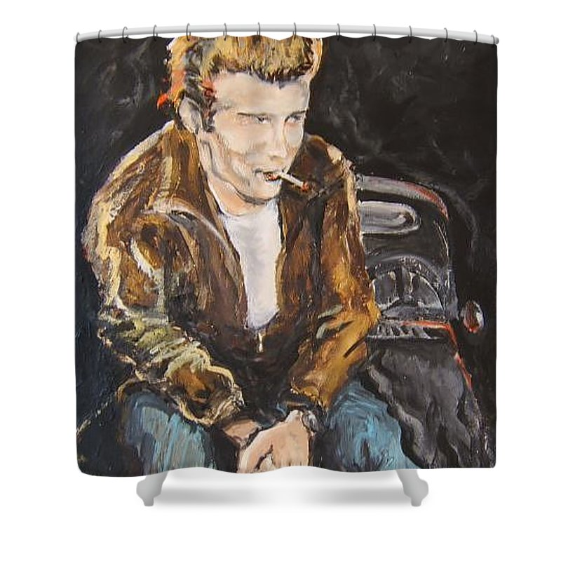 James Dean Shower Curtain featuring the painting James Dean by Todd Artist