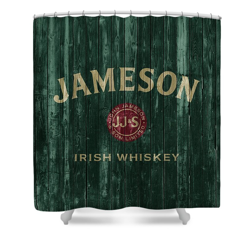 df3f465e531 Jameson Irish Whiskey Barn Door Shower Curtain featuring the mixed media Jameson  Irish Whiskey Barn Door