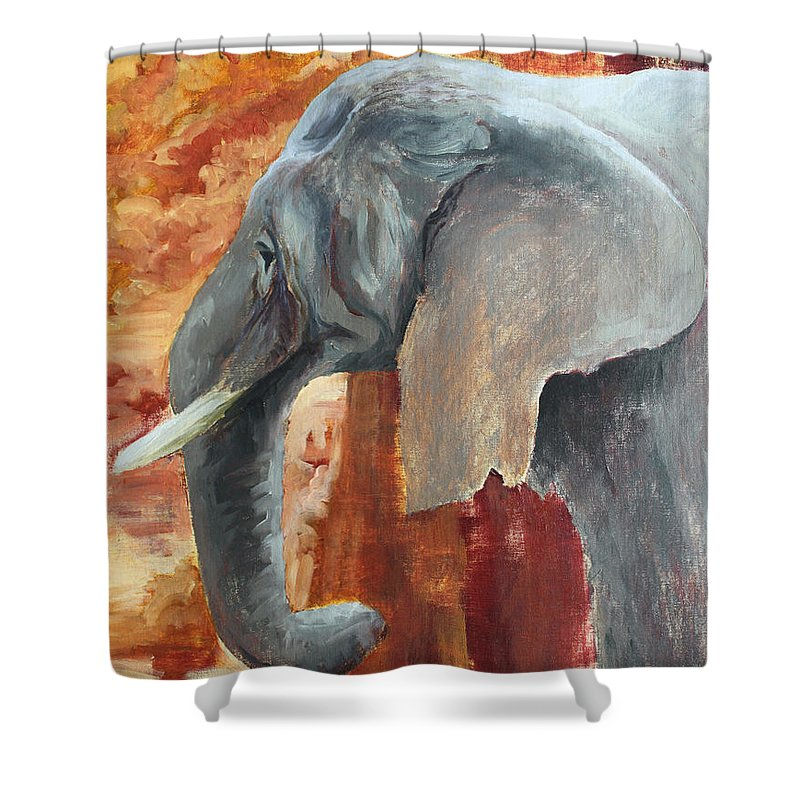 Animal Shower Curtain featuring the painting Jana by Todd Blanchard