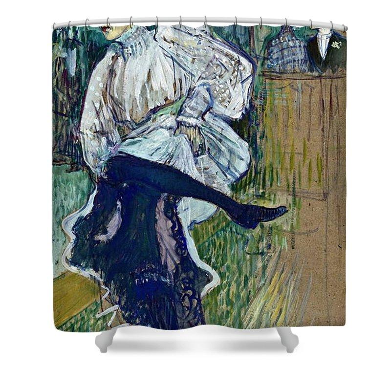 Dancer Shower Curtain featuring the painting Jane Avril Dancing Circa 1892 by Henri De Toulouse Lautrec