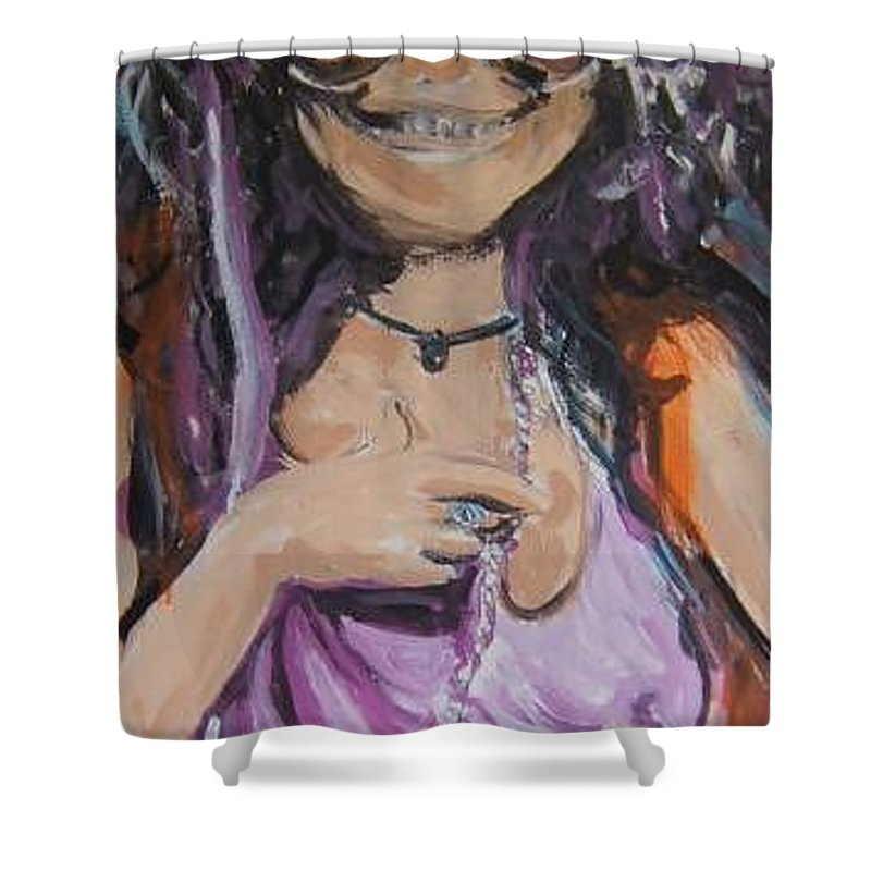 Janis Shower Curtain featuring the painting Janis Joplin by Todd Artist