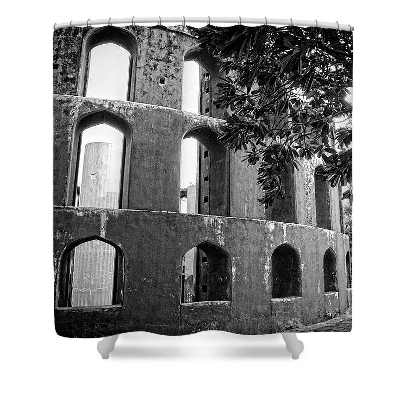 Delhi Shower Curtain featuring the photograph Jantar Mantar - Monochrome by Neha Gupta