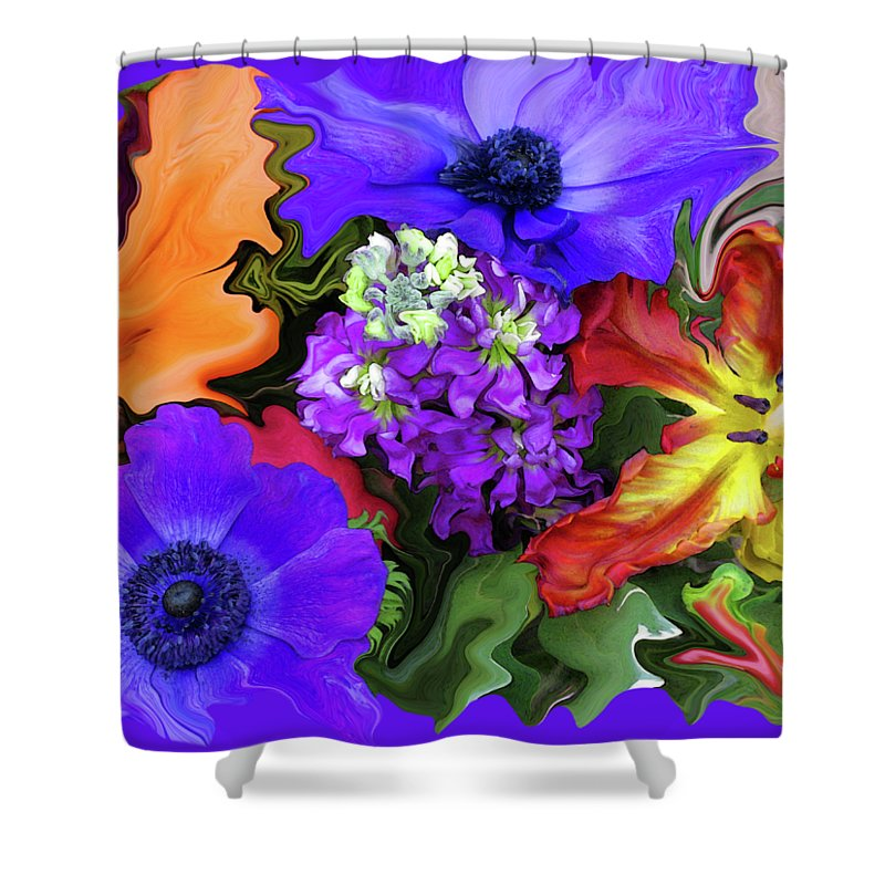 Abstract Shower Curtain featuring the photograph January Bouquet by Kathy Moll