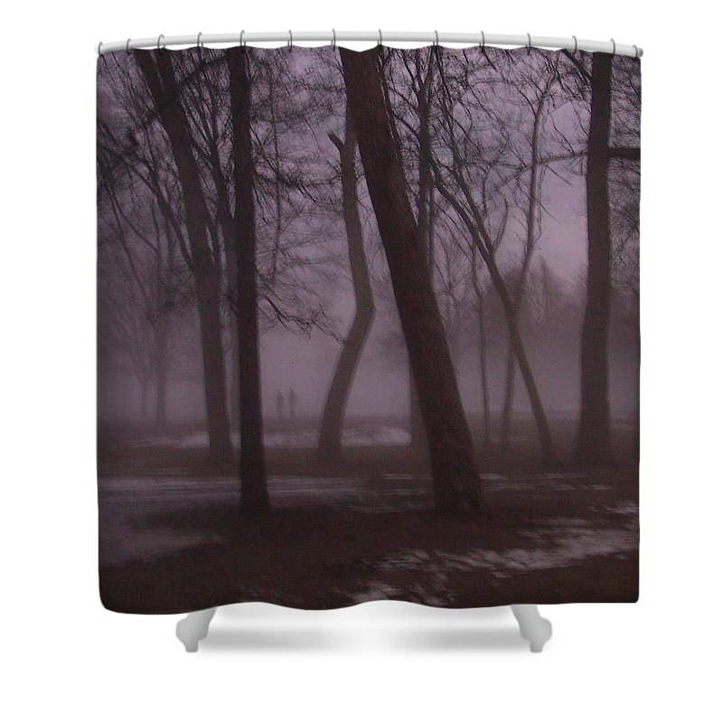 January Shower Curtain featuring the photograph January Fog 1 by Anita Burgermeister