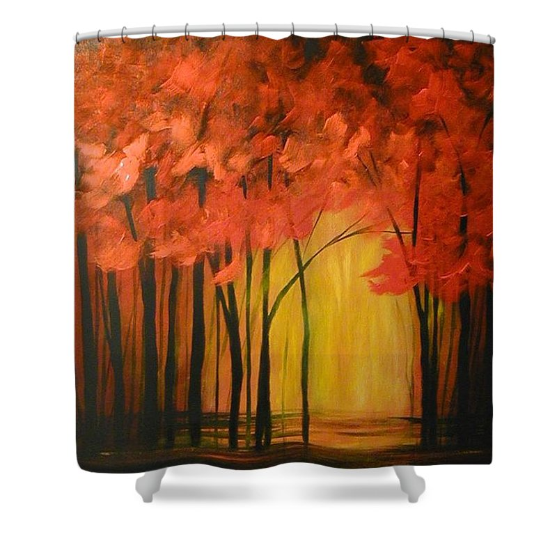Abstract Shower Curtain featuring the painting Japanese Forest by Sabina Surya Naya