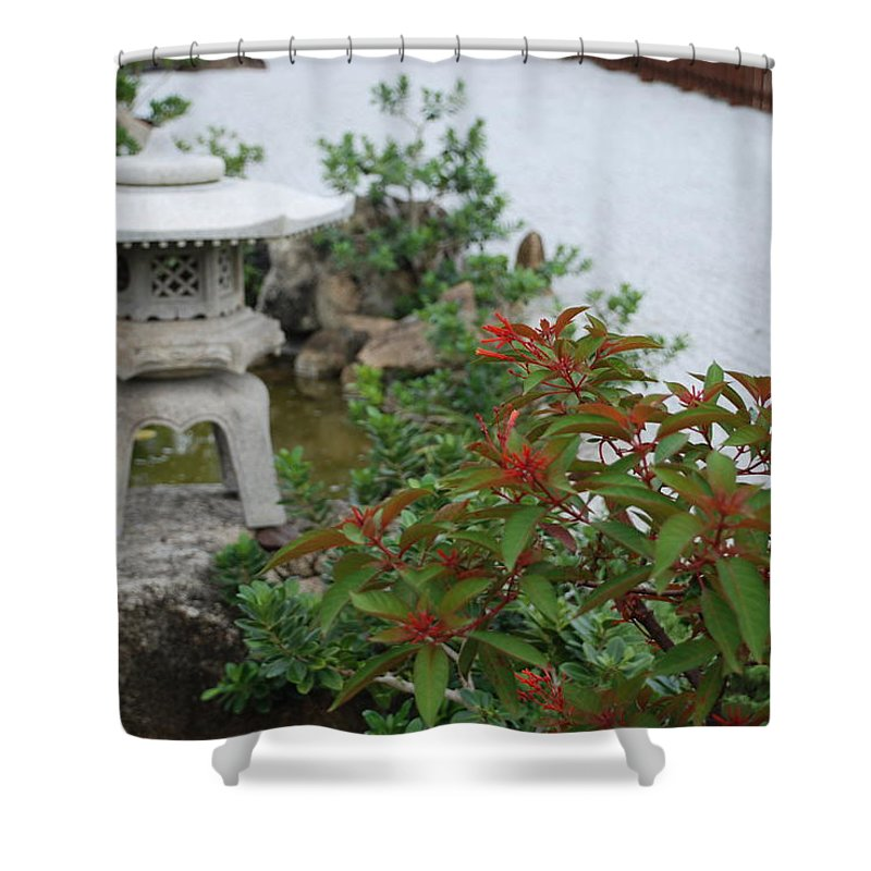 Rocks Shower Curtain featuring the photograph Japanese Garden Lantern by Rob Hans