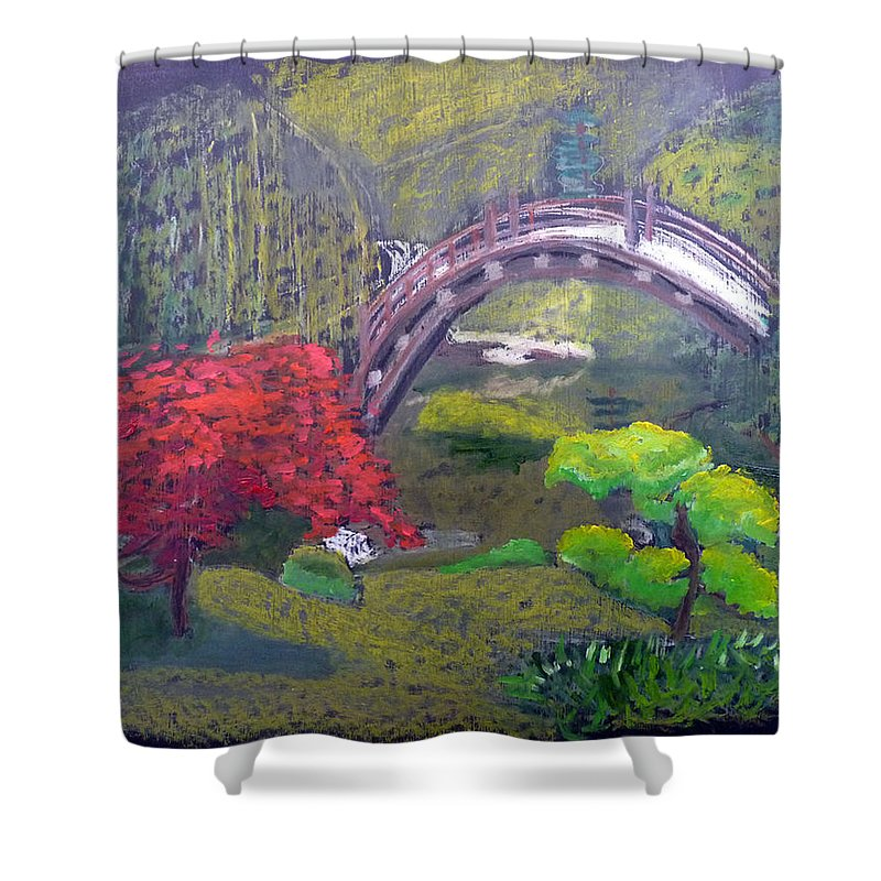 Japanese Garden Shower Curtain featuring the painting Japanese Garden by Richard Le Page