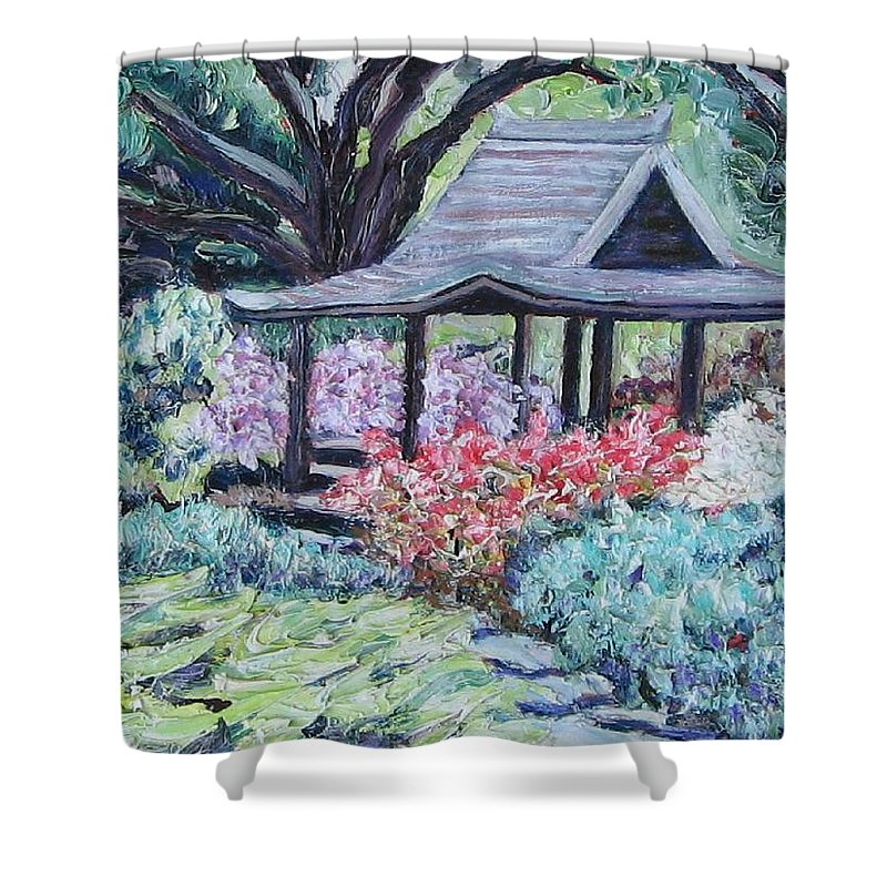Garden Shower Curtain featuring the painting Japanese Garden by Richard Nowak