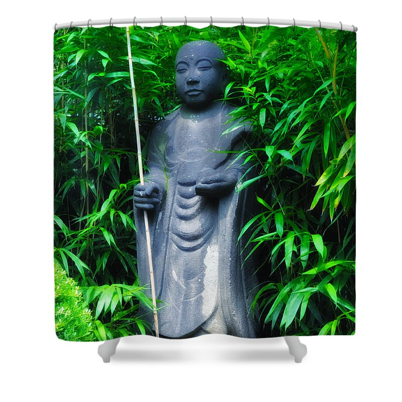 Japanese Shower Curtain featuring the photograph Japanese House Monk Statue by Bill Cannon