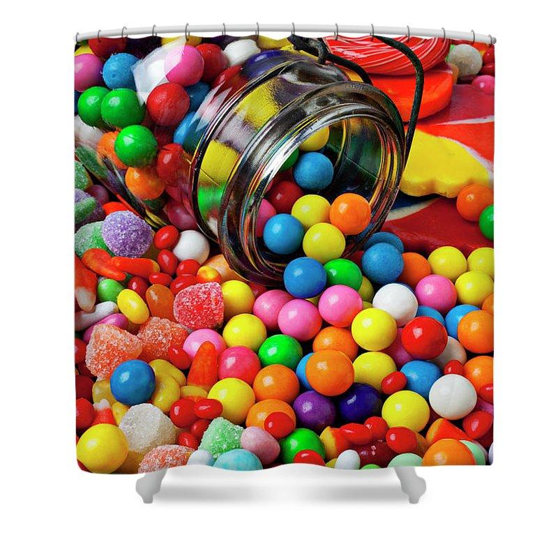Jar Spilling Bubblegum Candy Concept Concept Conceptual Color Colour Colorful Shower Curtain featuring the photograph Jar Spilling Bubblegum With Candy by Garry Gay