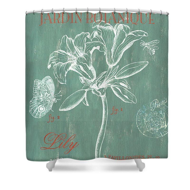 Floral Shower Curtain featuring the drawing Jardin Botanique Aqua by Debbie DeWitt