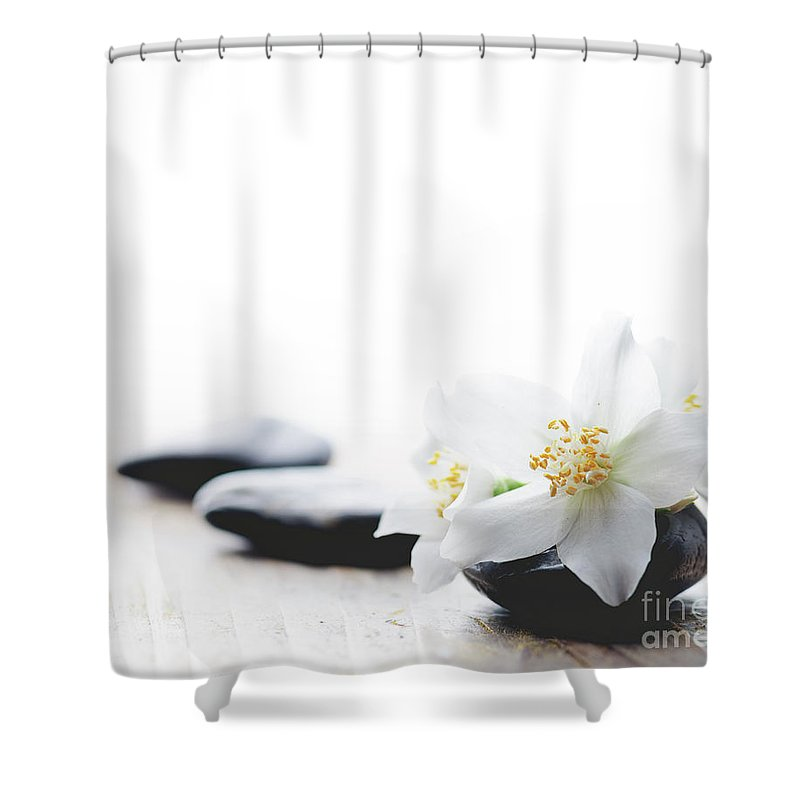 Jasmine Shower Curtain Featuring The Photograph Flower On Spa Stones By Jelena Jovanovic