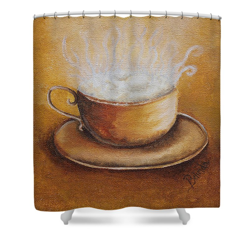 Java Shower Curtain featuring the painting Java by Belinda Buckler