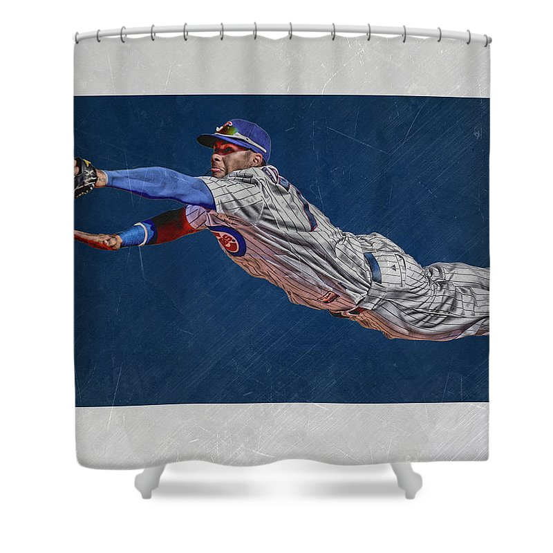 Javier Baez Shower Curtain Featuring The Mixed Media Chicago Cubs Art 2 By Joe