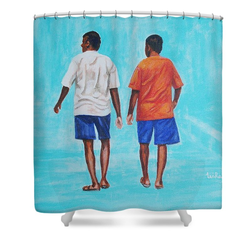 Shower Curtain featuring the painting Jay Walkers by Usha Shantharam