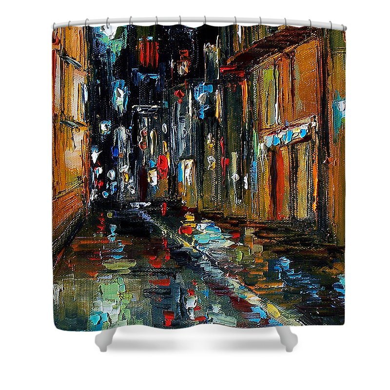 New Orleans Shower Curtain featuring the painting Jazz Alley by Debra Hurd