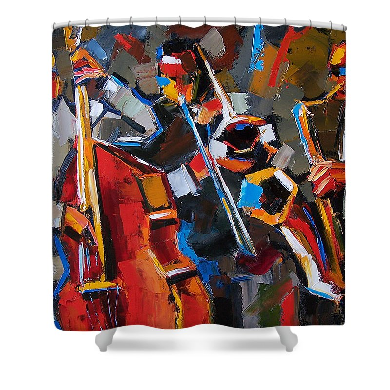 Jazz Shower Curtain featuring the painting Jazz Angles by Debra Hurd