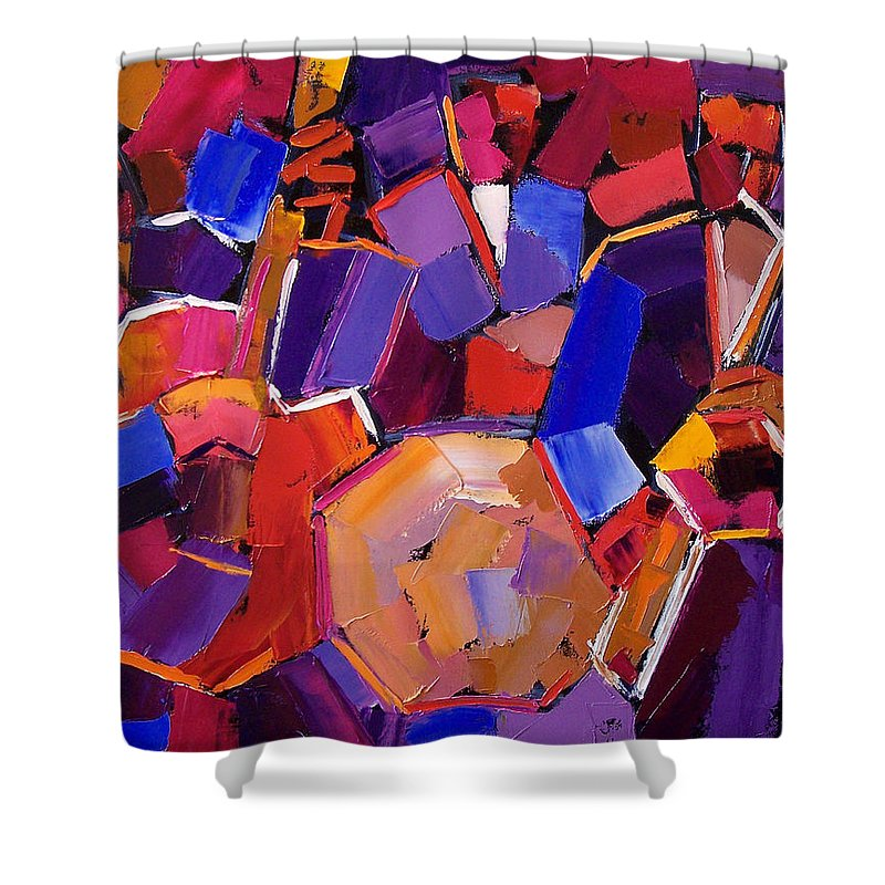 Jazz Shower Curtain featuring the painting Jazz Angles Two by Debra Hurd