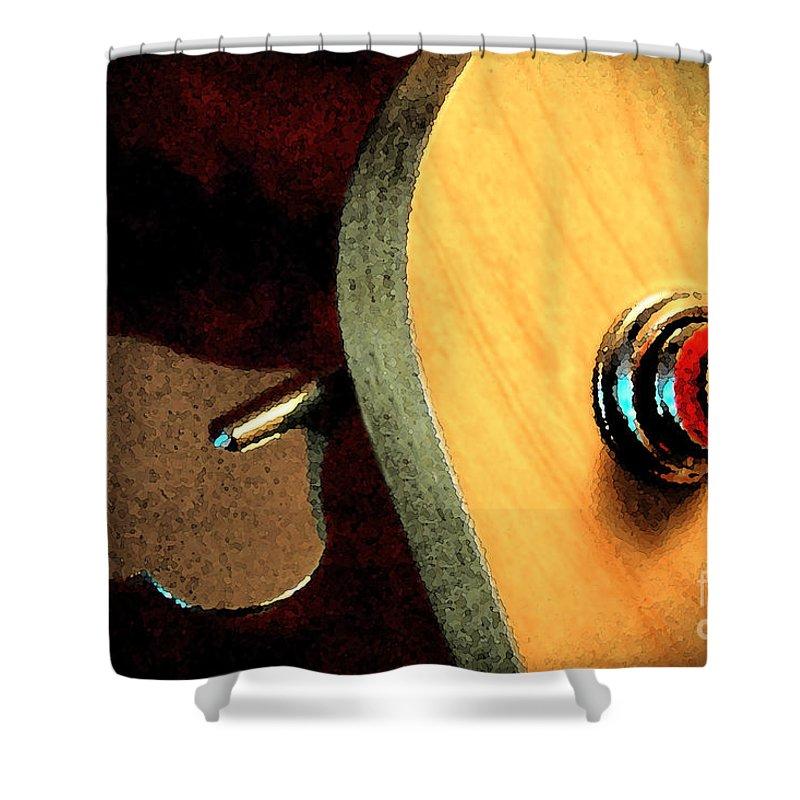 Still Life Shower Curtain featuring the digital art Jazz Bass Tuner by Todd Blanchard