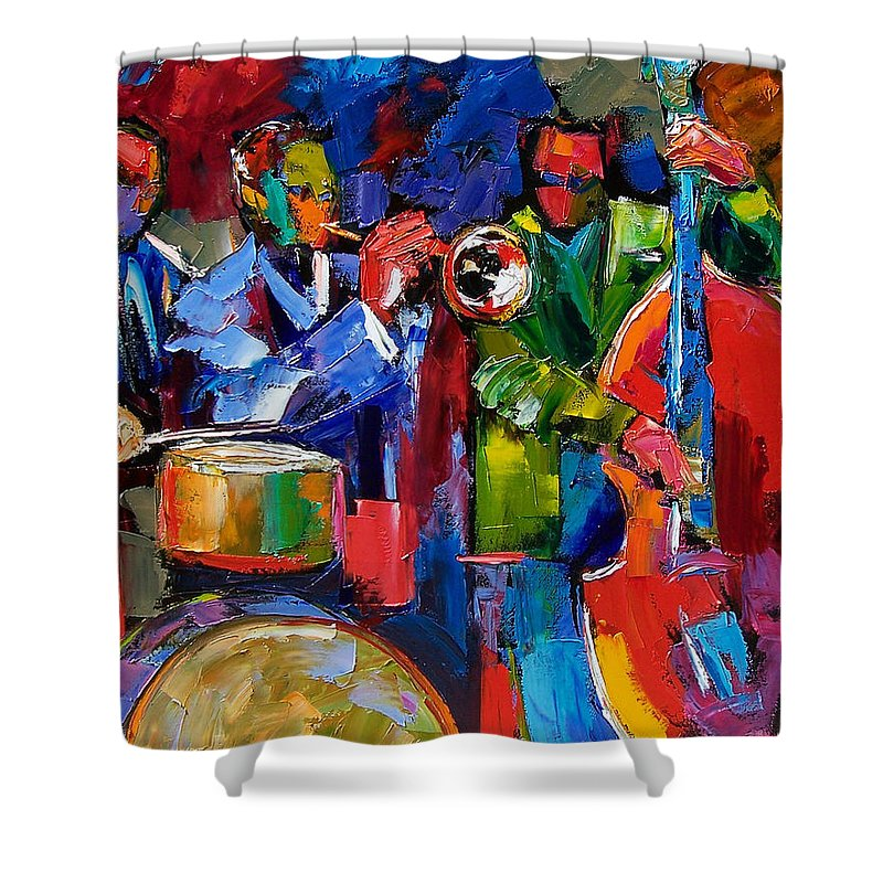 Jazz Shower Curtain featuring the painting Jazz Beat by Debra Hurd