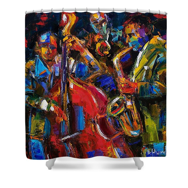 Jazz Shower Curtain featuring the painting Jazz by Debra Hurd