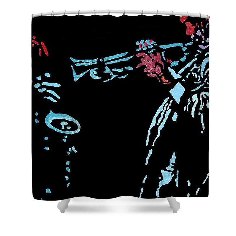 Abstract Shower Curtain featuring the painting Jazz Duo by Angelo Thomas